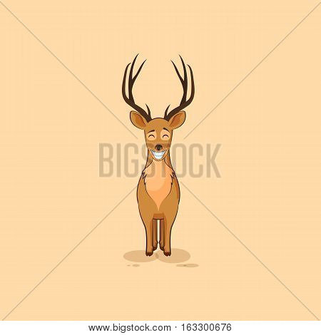 Vector Stock Illustration isolated emoji character cartoon deer with huge smile from ear to ear sticker emoticon for site, infographic, video, animation, website, mail, newsletter, report, comic
