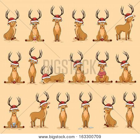 Set Vector Stock Illustrations isolated emoji character cartoon deer stickers emoticons with different emotions in the cap of Santa Claus for the greetings Merry Christmas and Happy New Year.