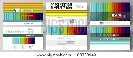 Set of business templates for presentation slides. Easy editable abstract layouts in flat design, vector illustration. Bright color rectangles, colorful design with overlapping geometric rectangular shapes forming abstract beautiful background.