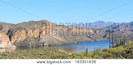 Canyon Lake panorama. In the Tonto National Forest the lake is formed by the Mormon Flat Dam on the Salt River.