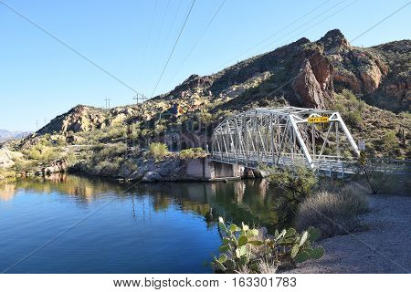 TORTILLA FLAT ARIZONA - DEC 8 2016: One lane bridge at Canyon Lake. In the Tonto National Forest the lake is formed by the Mormon Flat Dam on the Salt River.