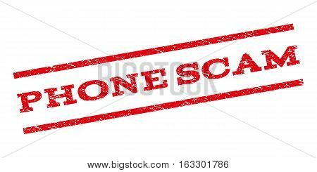 Phone Scam watermark stamp. Text tag between parallel lines with grunge design style. Rubber seal stamp with unclean texture. Vector red color ink imprint on a white background.