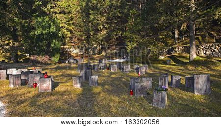 Begunje Slovenia - December 25th 2016. Gravestones at the Begunje Hostages Cemetery. The small cemetry is a World War Two memorial.