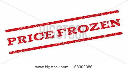 Price Frozen watermark stamp. Text caption between parallel lines with grunge design style. Rubber seal stamp with dirty texture. Vector red color ink imprint on a white background.