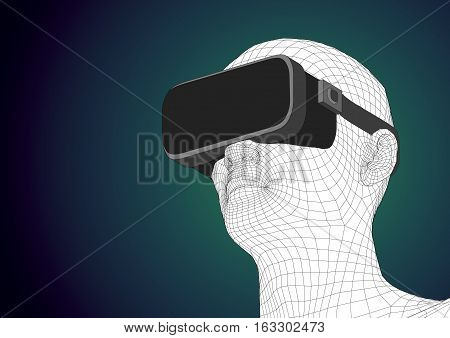 Futuristic Human Head Wearing Vr Headset For Augmented Reality
