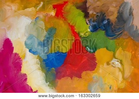 Two-year old child gouache drawing. Abstract brush painting background. Children's art