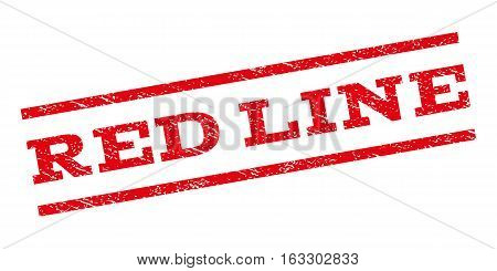 Red Line watermark stamp. Text caption between parallel lines with grunge design style. Rubber seal stamp with dust texture. Vector red color ink imprint on a white background.