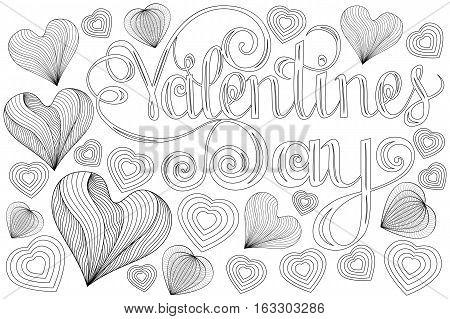 Happy valentines day Lettering design elements for cards. Red Pink Background With Ornaments Hearts. Doodles curls. Vector illustration. Pink Background With Ornaments Hearts. Doodles and curls. Be my Valentine.