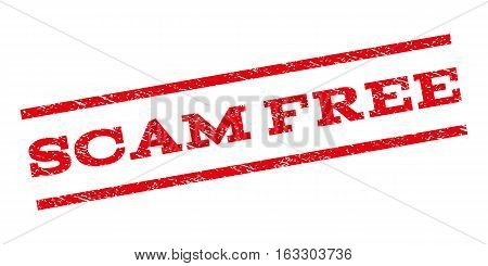 Scam Free watermark stamp. Text tag between parallel lines with grunge design style. Rubber seal stamp with dust texture. Vector red color ink imprint on a white background.
