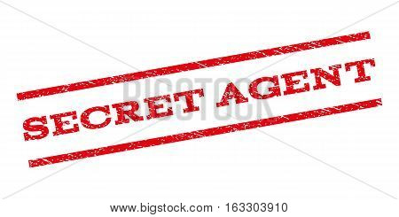 Secret Agent watermark stamp. Text caption between parallel lines with grunge design style. Rubber seal stamp with unclean texture. Vector red color ink imprint on a white background.