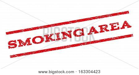 Smoking Area watermark stamp. Text tag between parallel lines with grunge design style. Rubber seal stamp with dust texture. Vector red color ink imprint on a white background.
