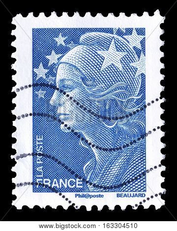 FRANCE - CIRCA 2008 : Cancelled postage stamp printed by France, that shows Marianne de Beaujard.