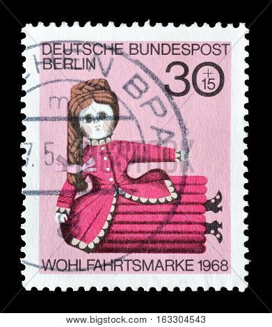 GERMANY - CIRCA 1968 : Cancelled postage stamp printed by Germany, that shows Wooden toy.