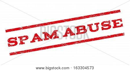Spam Abuse watermark stamp. Text tag between parallel lines with grunge design style. Rubber seal stamp with dirty texture. Vector red color ink imprint on a white background.