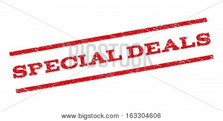 Special Deals watermark stamp. Text tag between parallel lines with grunge design style. Rubber seal stamp with dirty texture. Vector red color ink imprint on a white background.