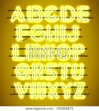 Glowing yellow Neon Alphabet with letters from A to Z. Shining and glowing neon effect. Every letter is separate unit with wires tubes brackets and holders.