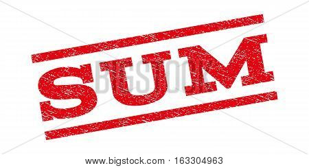 Sum watermark stamp. Text caption between parallel lines with grunge design style. Rubber seal stamp with scratched texture. Vector red color ink imprint on a white background.