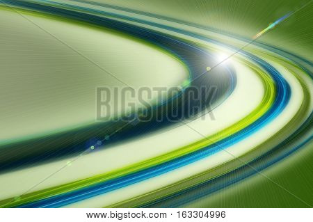 Futuristic Eco Wave Background Design With Lights On Green