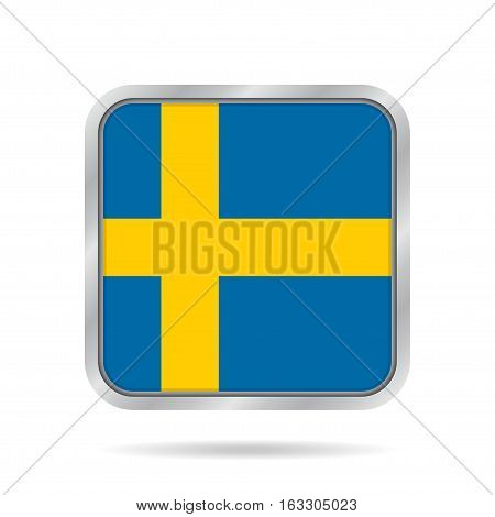 National flag of Sweden. Shiny metallic gray square button with shadow.