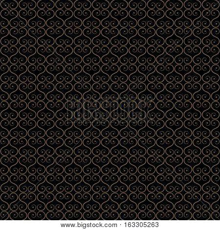 seamless illustration - gold oriental decorative lattice on a black background