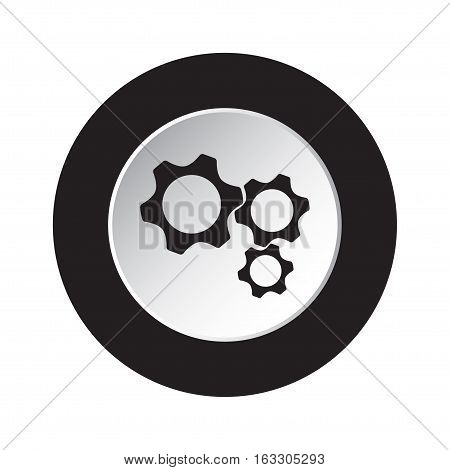 isolated round black and white button with black three cogwheel icon