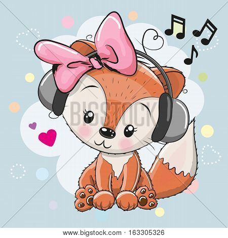 Cute cartoon Fox girl with headphones and hearts