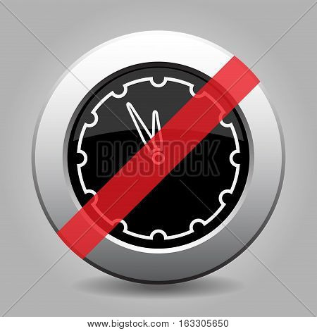 black and gray metallic button with shadow - white last minute clock banned icon