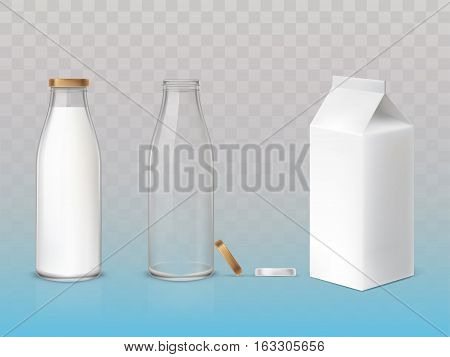 Set of vector icons box, bottles empty and with a milk