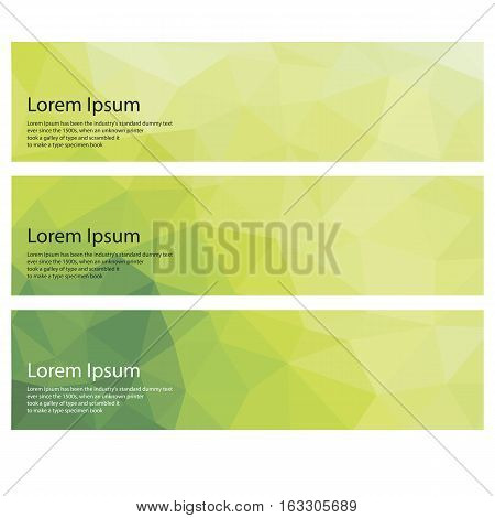 Header Layout Template. Set of three banners header for web design. Abstract green low-poly banner