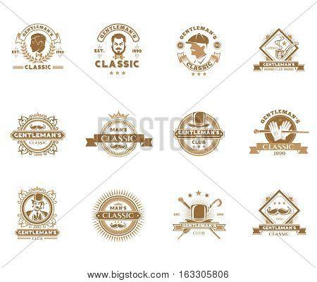 Set of vector vintage gentleman emblems, labels, icons, signage and design elements.