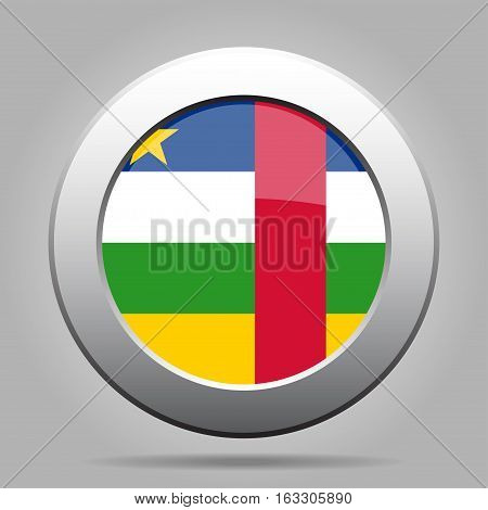 National flag of Central African Republic. Shiny metal gray round button with shadow.