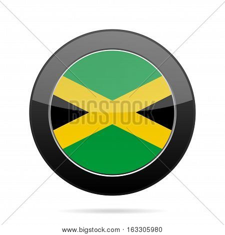 National flag of Jamaica. Shiny black round button with shadow.