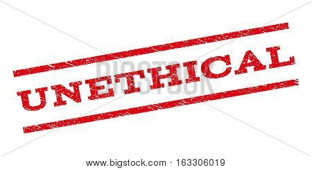 Unethical watermark stamp. Text tag between parallel lines with grunge design style. Rubber seal stamp with scratched texture. Vector red color ink imprint on a white background.