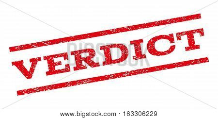 Verdict watermark stamp. Text tag between parallel lines with grunge design style. Rubber seal stamp with unclean texture. Vector red color ink imprint on a white background.