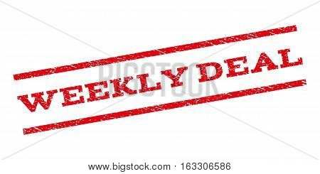 Weekly Deal watermark stamp. Text tag between parallel lines with grunge design style. Rubber seal stamp with dirty texture. Vector red color ink imprint on a white background.
