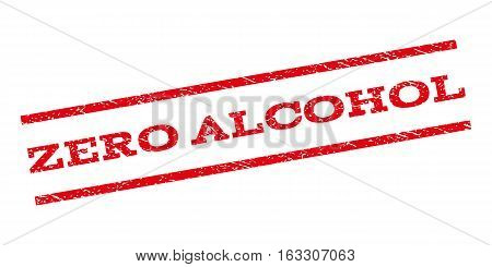 Zero Alcohol watermark stamp. Text caption between parallel lines with grunge design style. Rubber seal stamp with dirty texture. Vector red color ink imprint on a white background.