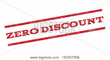 Zero Discount watermark stamp. Text tag between parallel lines with grunge design style. Rubber seal stamp with unclean texture. Vector red color ink imprint on a white background.