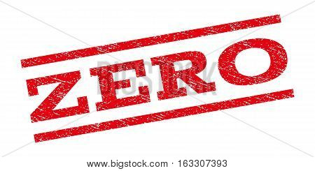 Zero watermark stamp. Text tag between parallel lines with grunge design style. Rubber seal stamp with unclean texture. Vector red color ink imprint on a white background.