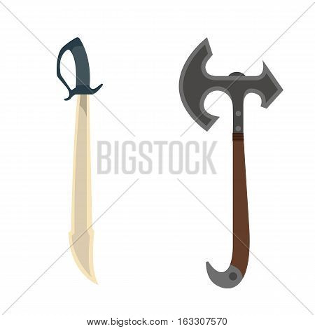 Knife and axe weapon dangerous collection. Vector illustration of sword spear. Edged weapons set. Combat andbonder bayonet cold protection or attack steel arms.