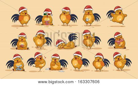 Set Vector Stock Illustrations isolated Emoji character cartoon Cock stickers emoticons with different emotions in the cap of Santa Claus for the greetings Merry Christmas and Happy New Year.