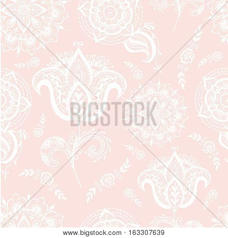 Floral mehendy pattern ornament. Vector illustration mehendy pattern in asian textile style india tribal ornate. Ethnic ornamental lace vintage mehendy pattern mandala abstract textile