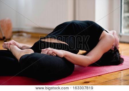 Matsyasana or fish posture in yoga, toned image