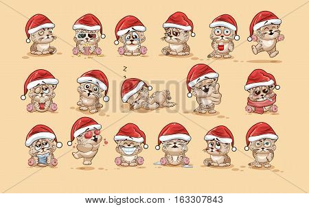 Set Vector Stock Illustrations isolated Emoji character cartoon Leopard cub sticker emoticons with different emotions in the cap of Santa Claus for the greetings Merry Christmas and Happy New Year.