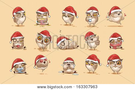 Set Vector Stock Illustrations isolated Emoji character cartoon owl stickers emoticons with different emotions in the cap of Santa Claus for the greetings Merry Christmas and Happy New Year.