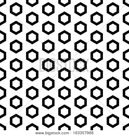 Vector monochrome seamless pattern, black outline hexagons on white background. Simple geometric texture for tileable print, stamping, decoration, digital, web, wrapping, cover, textile, furniture, identity