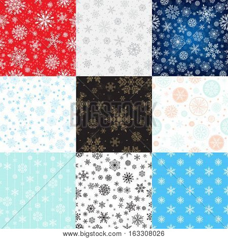 Snowflake seamless pattern vector illustration and season nature winter sign symbol. Frozen ice xmas element and frost silhouette. Winter snow traditional beautiful star ornament.