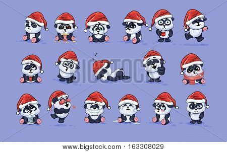 Set Vector Stock Illustrations isolated Emoji character cartoon Panda stickers emoticons with different emotions in the cap of Santa Claus for the greetings Merry Christmas and Happy New Year.