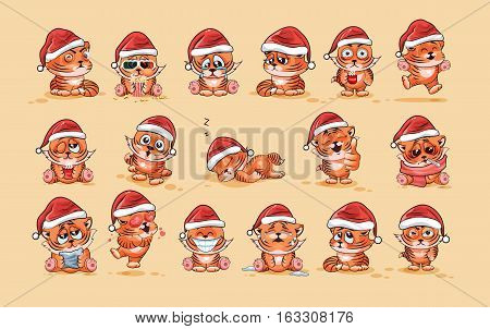 Set Vector Stock Illustrations isolated Emoji character cartoon Tiger cub sticker emoticons with different emotions in the cap of Santa Claus for the greetings Merry Christmas and Happy New Year.