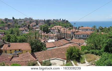 View at the red roofs of Antalyas Oldtown Kaleici