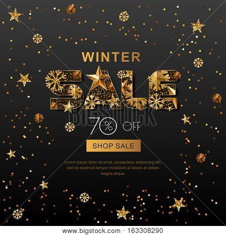 Winter Sale Banners With 3D Gold Stars And Snowflakes. Vector Winter Holidays Poster, Golden Black B